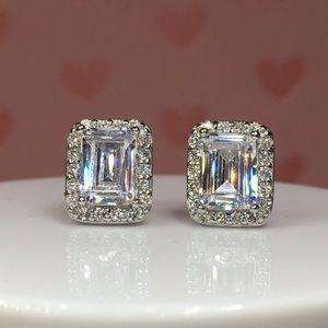 Jewelry - 14k white gold emerald diamond 3 ct halo earrings
